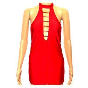 Red Halter Mini Lingerie Dress